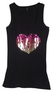 Amisu Top Tank Black with Sequined Pink Heart