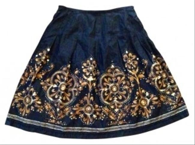 Trevan Silk Blend Business Unique All Season Skirt Black with Golden Tan Pattern