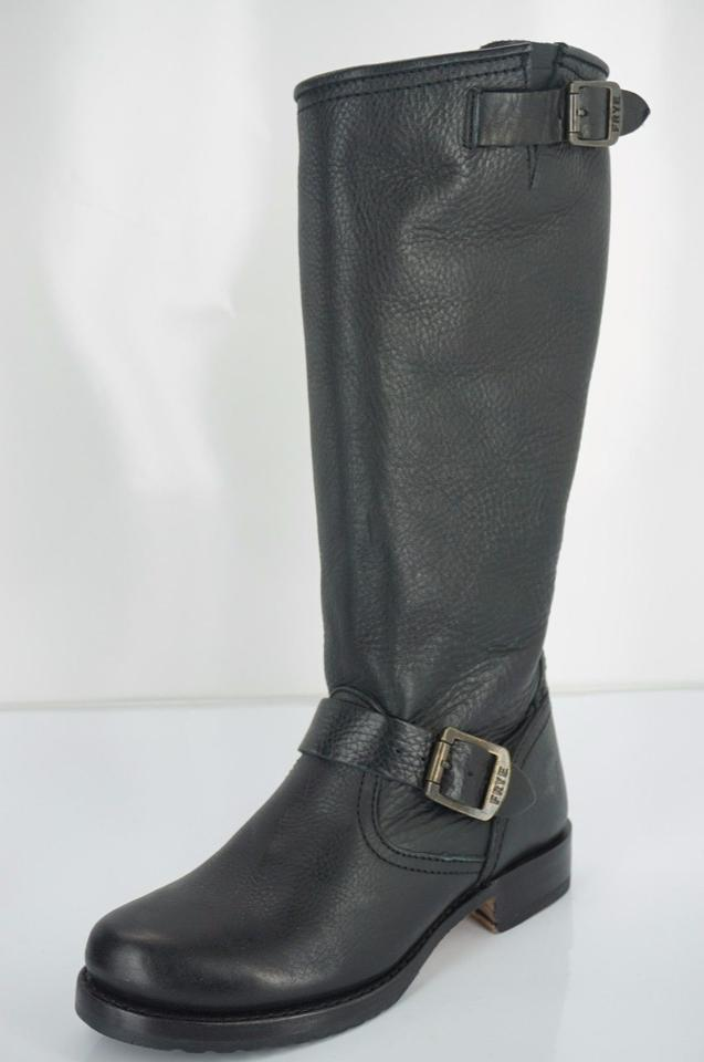 Frye Black Calf Leather Veronica Slouch Mid Calf Black Biker Boots/Booties b19192