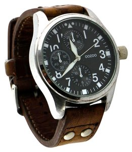 oozoo OOZOO Men's Silver-tone Brown Leather Strap Chronograph Fashion Watch 44mm