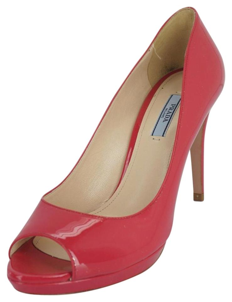 72964394d54e Prada Pink Patent Leather Peep Toe High Heel Platform Pumps Size EU ...