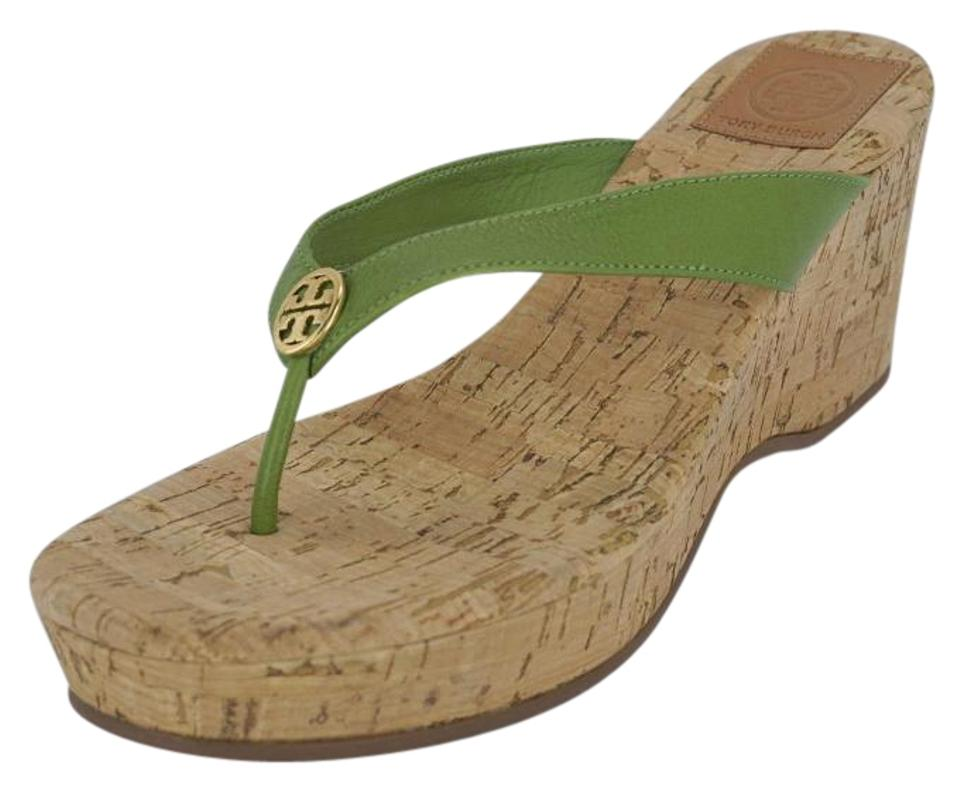 b7eb8714c Tory Burch Green Leather Suzy Cork Thong Flip Flop Sandals Wedges ...
