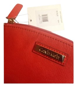 Calvin Klein CK Calvin Klein Red Leather Cosmetic Makeup Bag NWT
