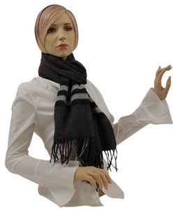 Burberry Burberry Scarf Dark Charcoal Signature Print Giant Check %100 Cashmere