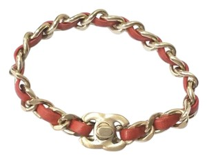 Chanel Authentic Chanel Gold Chain Coral Orange Turnlock Bracelet