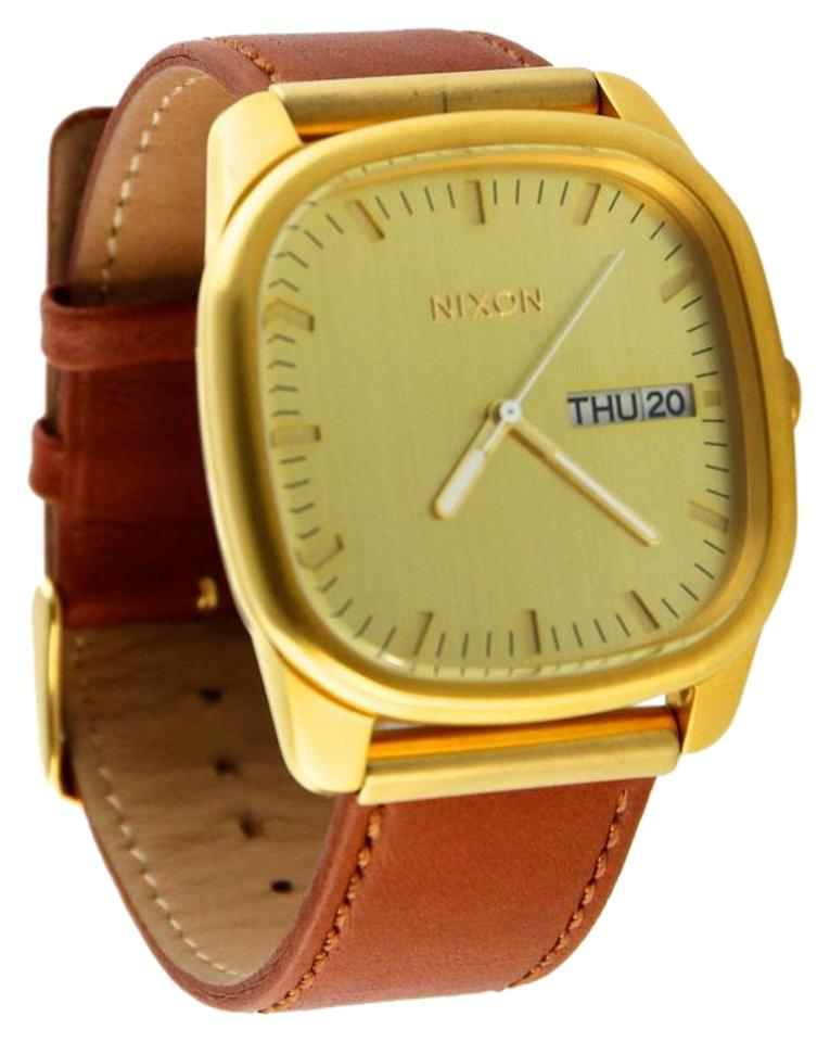 e541cc0d69e Nixon Nixon  Get Acquainted  Men s The Identity Gold-Tone Brown Leather  Strap Watch ...
