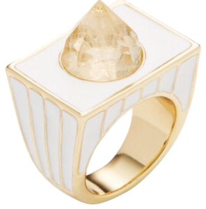 House of Harlow 1960 Gold Tone White Glacier Cocktail Ring