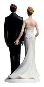 The Love Pinch Bridal Couple Figurine Caucasian Couple Hand Painted Porcelain Wedding Cake Couple Topper