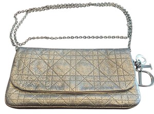 Dior Evening Chic Leather Grey Silver Clutch