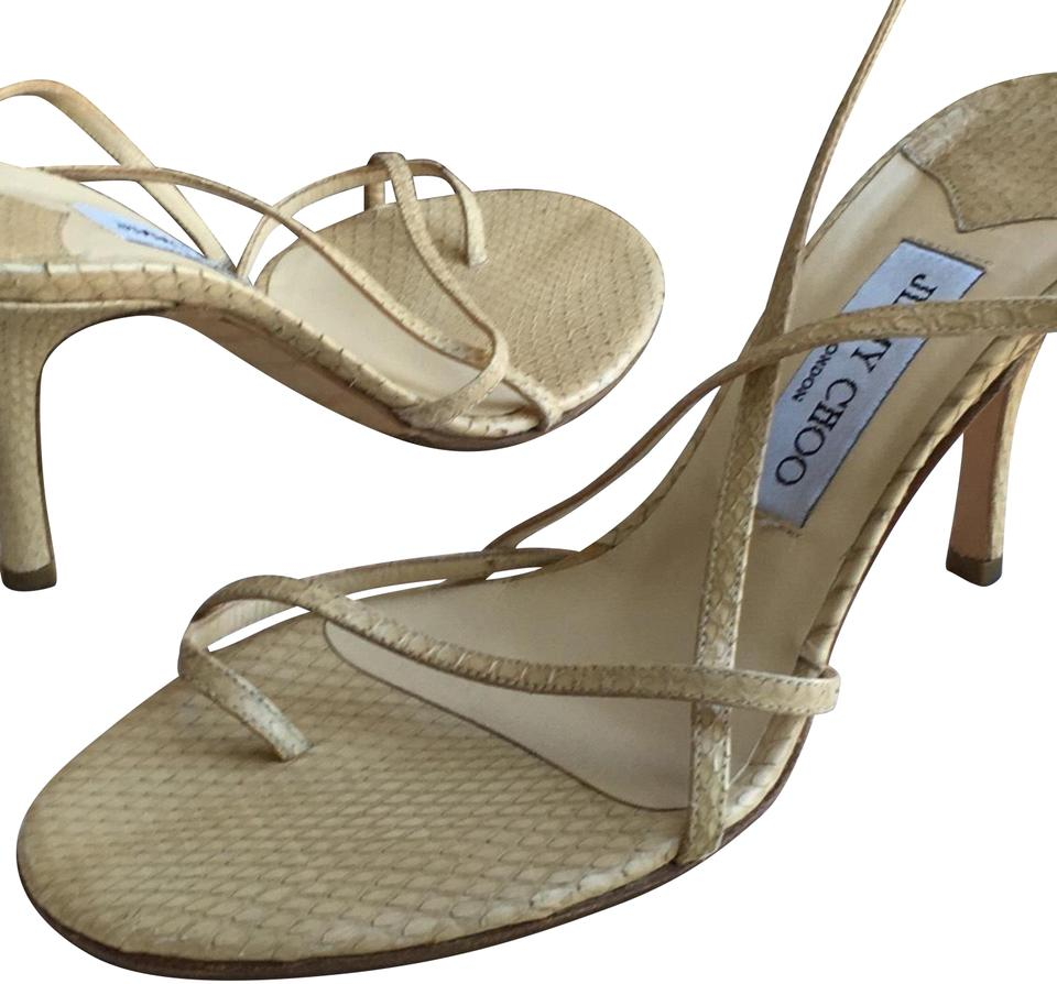 82b929ff9a Jimmy Choo Nude Strappy Snakeskin Formal Shoes Size US 8.5 Regular ...