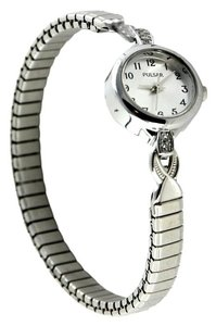 Pulsar Pulsar Women's Silver-Tone Stretch Band Rhinestone Bracelet Watch 18mm