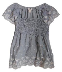 Anthropologie Boho-style Embroidered Scalloped Hemline Peasant Top Blue, White
