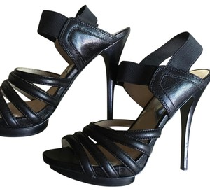 Michael Kors Mk Strappy Edgy Leather black Platforms