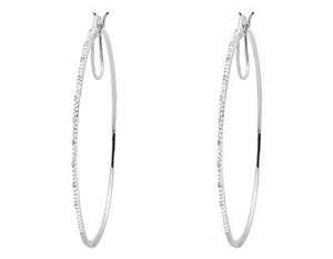 Ladies White Gold Finished Real Diamond Hoop Earrings 52mm 110th Inch 0.10ct