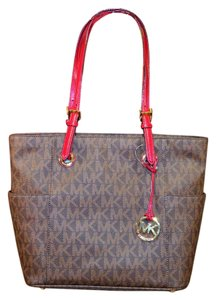 Michael Kors Jet Set East West Embossed Leather Tote in Brown/ Cherry