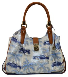 Brahmin Elisa Copa Cabana Cars Satchel in blue