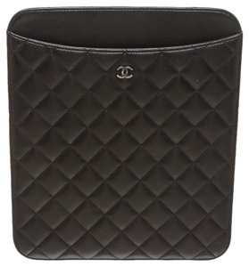 Chanel Chanel Black Quilted Lambskin CC Tablet Case