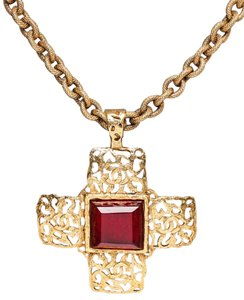Chanel Cross Gemstone Chain Link Necklace