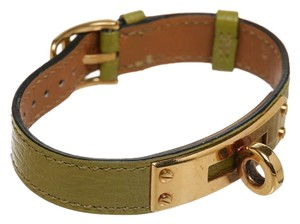 Herms Hermes Green Leather Kelly Band Bracelet