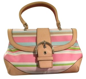 Coach Vachetta Leather Medium Size & Pastel Top Satchel in Pink and Multi-pastel colors