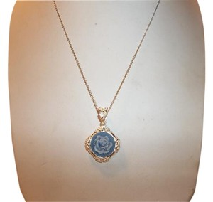 oh Scarlett! Oh Scarlett Sterling Silver Blue Rose Cameo Pendant Necklace 18
