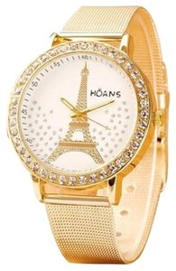 Hoans New Hoans Eiffel Tower Gold Tone Metal Band Wrist Watch J2530