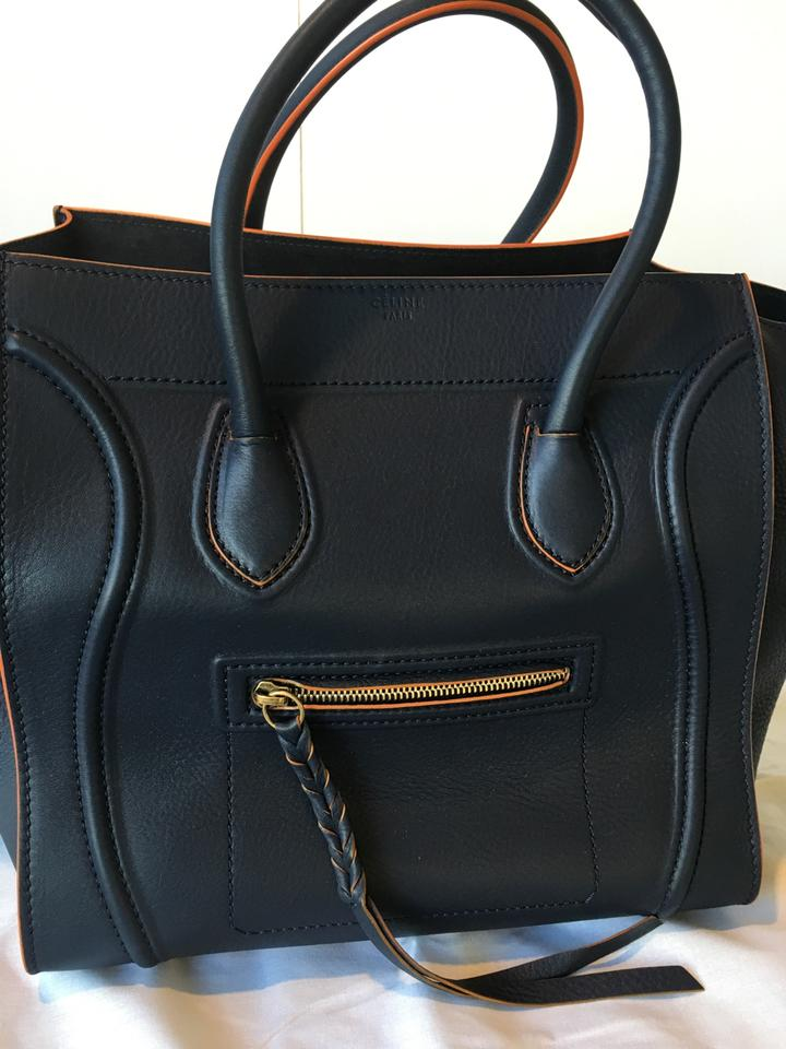 Céline Luggage Cabas Phantom Medium Navy Blue   Orange Trim Calfskin Tote -  Tradesy d4d04c535870d