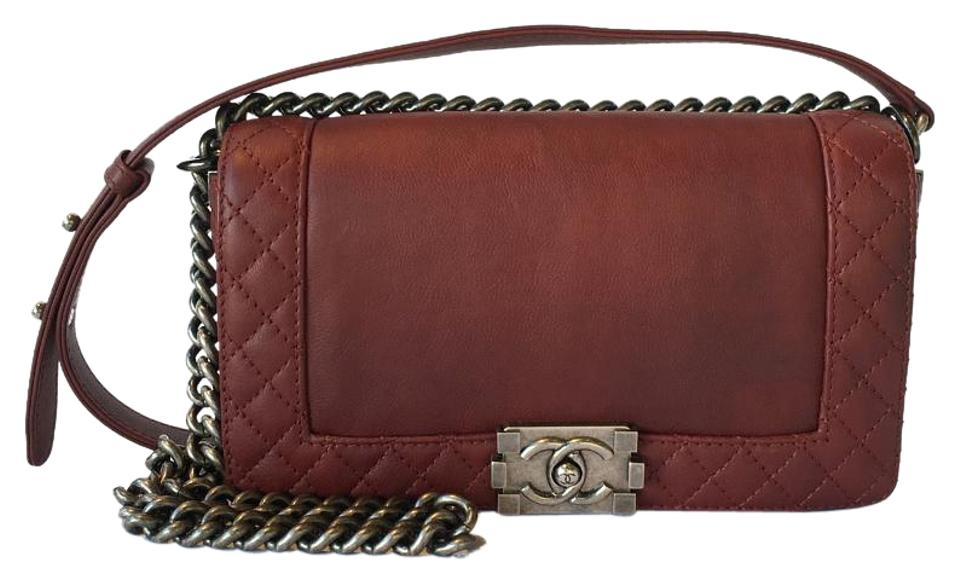 cace83f9d8e8 Chanel Boy Reverso Flap Quilted Medium Burgundy Calfskin Leather ...