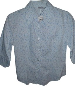 Renee Lauren NY Preppy Casual Tailored Collegiate Collar Button Down Shirt blue