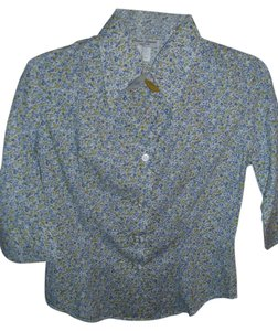 Renee Lauren New York Cotton Preppy Traditional Button Down Shirt blue