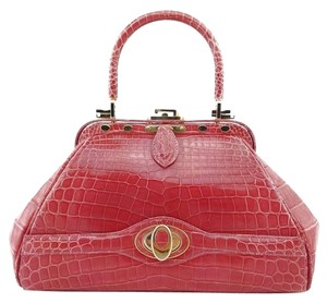 Judith Leiber Crocodile Leather Satchel in Coral/Pink