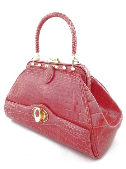 Judith Leiber Crocodile Leather Gold Hardware Satchel in Coral/Pink
