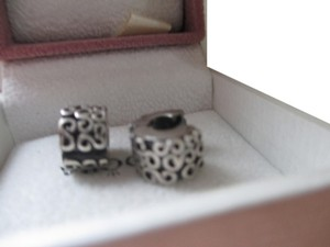 """PANDORA Authentic Pandora Sterling Silver """"S"""" Swirl Clips Charms- #790338 set of 2"""