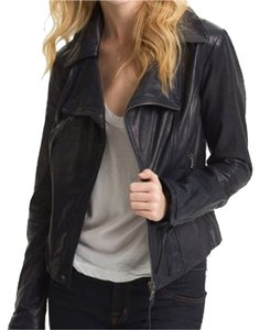 June Dark Navy Leather Jacket