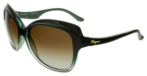 Salvatore Ferragamo Salvatore Ferragamo Green Gradient Square Sunglasses