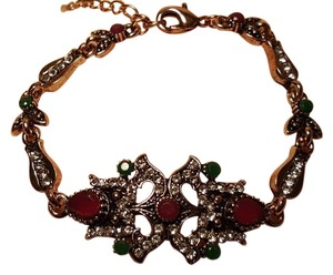 Vintage Style Bohemian Bracelet Emerald Green and Ruby Red