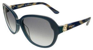Salvatore Ferragamo Salvatore Ferragamo Petrol Blue Oval Sunglasses