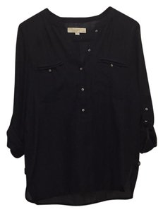 Ann Taylor LOFT Linen Roll Sleeve Button Down Shirt Black