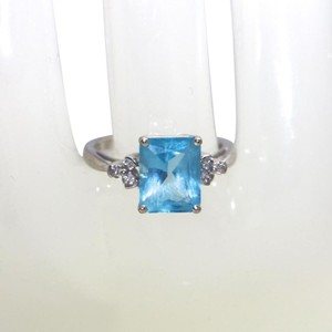 Other 14K WHITE GOLD BLUE TOPAZ RING, SIZE 5.5