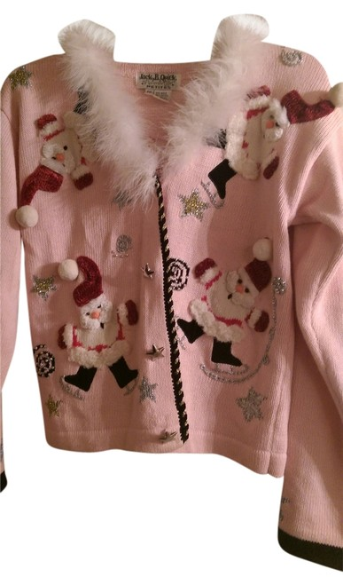 Item - Christmas Light Pink and Santa Clauses In Red and White Sweater