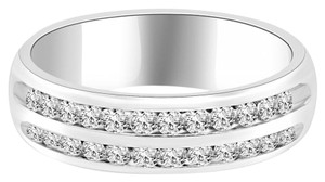 Avi and Co 0.55 cttw Round Brilliant Cut Diamond Double Channel Wedding Band 14K White Gold