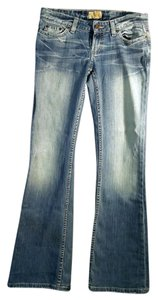 BKE Stretchy Distressed Boot Cut Jeans-Medium Wash