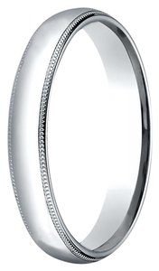 Avi and Co Ladies Platinum Milgrain Comfort Fit 3 Millimeter Wedding Band