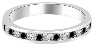 Avi and Co 0.68 cttw Round Cut Black & White Diamond Channel Wedding Band 14K White Gold