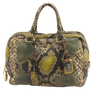 Prada Cervo Antik Python Tote in Green Multicolor