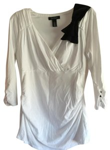 White House | Black Market Top White with black shoulder bow
