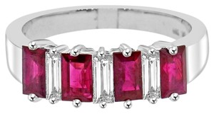 Avi and Co 1.66 cttw Baguette Cut Diamond & Emerald Cut Ruby Wedding Band 18K White Gold