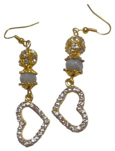 Other New Crystal Heart Charm Earrings Gold Tone Long J2531