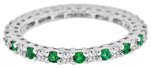 Avi and Co 0.80 cttw Round Brilliant Cut Diamond and Emerald Eternity Band 18K White Gold