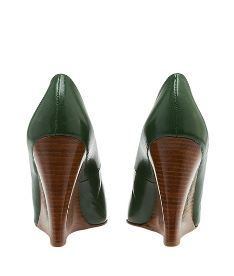 190173e757d Christian Louboutin Green Women's Leather Miss Boxe Stacked Wood 39.5  (24371) Wedges Size US 9.5